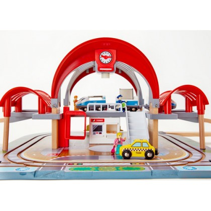Hape Grand City Station 2 tier wooden play set