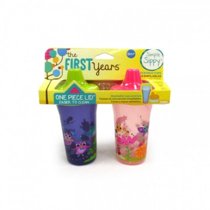 The First Years Simply Sippy Stackable Cup 9oz - 2pk (Green/Pink)