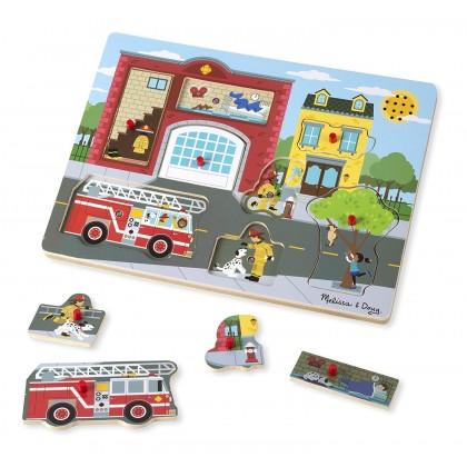 Around the Fire Station Sound Puzzle - Wooden Peg Puzzle (8 pcs) Melissa & Doug