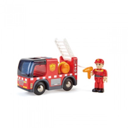 Hape Emergency Services HQ | 2-in-1 Police and Fire Station Complete Play Set with Vehicles and Action Figure